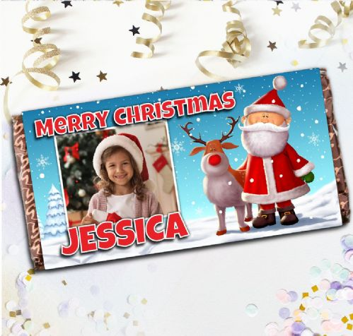 Personalised Merry Christmas Santa Milk Chocolate Bar - Xmas Eve Stocking Filler Gift N85